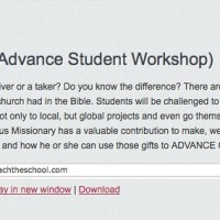 Give (Advance Student Workshop) « Reach the School